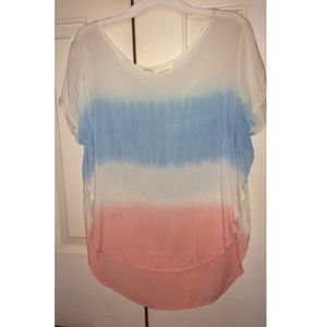 White Pink and Blue Top with Slits on Sides
