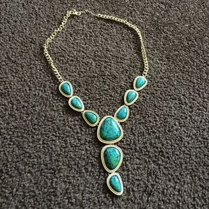 Gold & Teal/Emerald Necklace