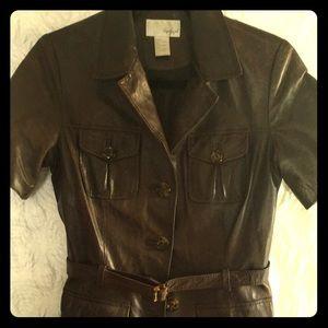 Brown short sleeve leather jacket