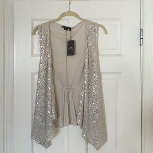 Armani Exchange Tops - ARMANI EXCHANGE silver sequins vest, brand new