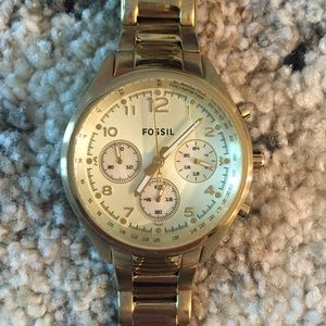 Gold Fossil boyfriend women's watch