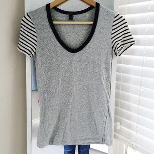 J. Crew Tops - J.Crew vintage cotton stripe-sleeve tee size XS