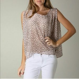 Moon Collection Pink And Brown Flower Heart Top