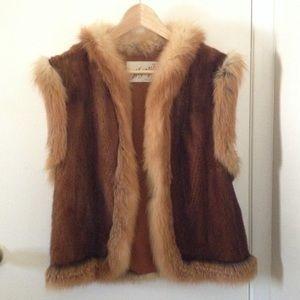 Jackets & Blazers - Vintage Fox Fur Trim Mink Vest