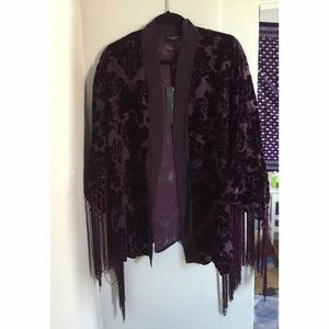 Live Unlimited London Tops - ASOS Purple Velvet &Silk Kimono w/ Fringed Sleeves