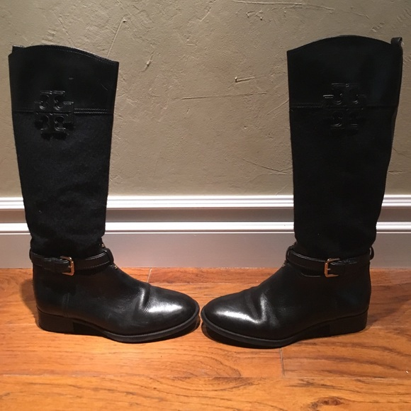 2e455ee3069 ... reduced tory burch flannel blaire riding boot navy black e2680 f573d