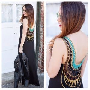 Dresses & Skirts - Black maxi dress with embroidered back details