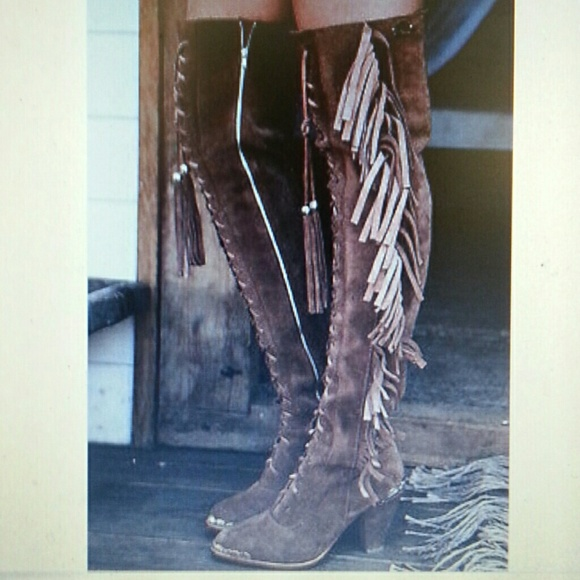 28577443692 Free People Over The Knee Fringe Western Boots 8