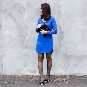 Humble Chic Dresses & Skirts - Blue crepe, 3/4 sleeve shirt with scalloped hem