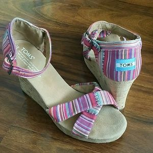 TOMS Sierra Pink Striped Cork Wedge Sandal 8.5