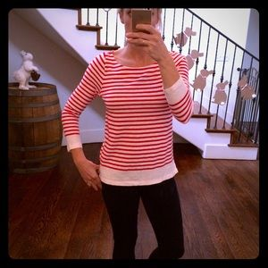 J Crew nautical Red Striped boat neck size S