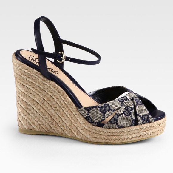 7e614cb784762f Gucci Penelope Espadrille Wedges sz 37.5 BRAND NEW