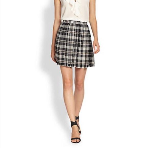 ebc335114 Joie Skirts | Deron Plaid Silk Pleated Skirt | Poshmark