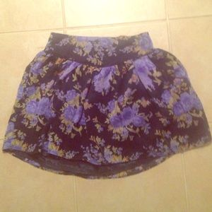 Navy skirt with periwinkle roses