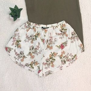 White Floral Shorts