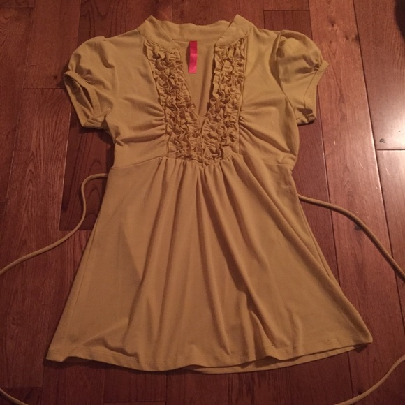 Kohls Tops Yellow V Neck Dressy Tie Back Babydoll Top Blouse