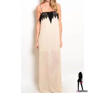 April Spirit Dresses & Skirts - Black Lace Detail Maxi Dress S M L