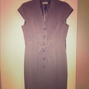 Calvin Klein Grey Button Front Belted Classy Dress