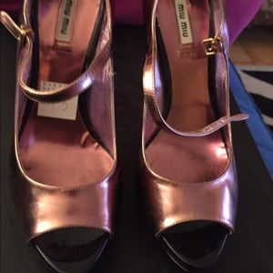 Miu Miu copper metallic open toe Mary Jane