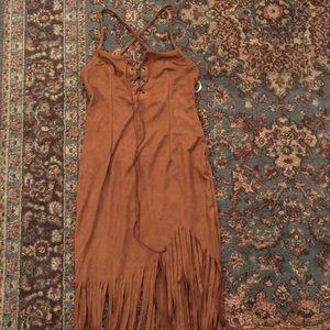 LF suede fringe dress lace-up front criss cross