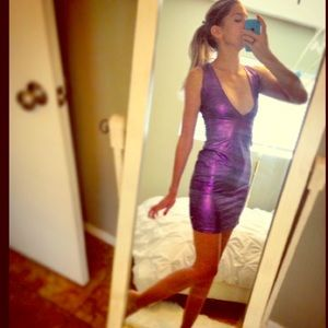 🌟HANDMADE🌟Disco Purple Bodycon Mini Dress!