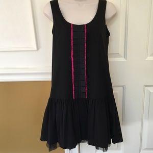 Kensie black flare dress with hot pink trim