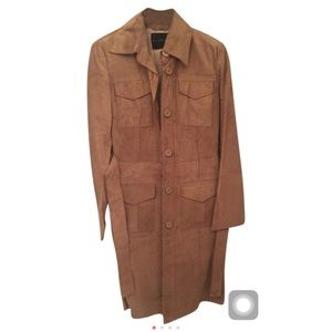 6dda0b63b27 ... Sold sisley Italy 100% Lamb Leather Trench Coat ...