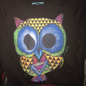 Crop top long sleeve colorful owl size S Target