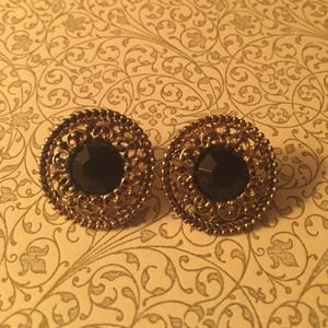 Vintage Gold and Black Post Earrings