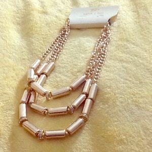 Gold tone triple layered necklace