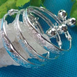 Precious silver baby bangle bracelets with bells