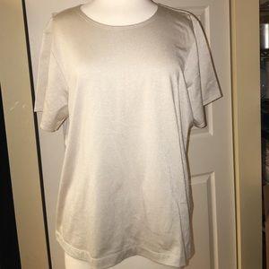 Ellen Tracy Tops - Ellen Tracey 2X Silver Pearl T Shirt NWT