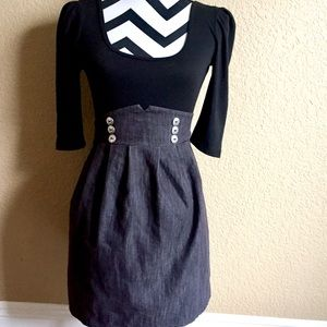Exhilaration Dresses & Skirts - ELEGANT BLACK/GRAY ONE-PUECE DRESS