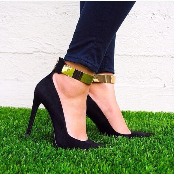43% off Zara Shoes - Zara Black High Heels Pumps / Gold Ankle ...