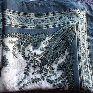 Handmade 100% screen printed silk scarf