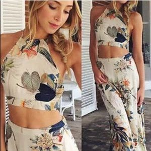 SALE! Skirt set maxi crop top Tropical print
