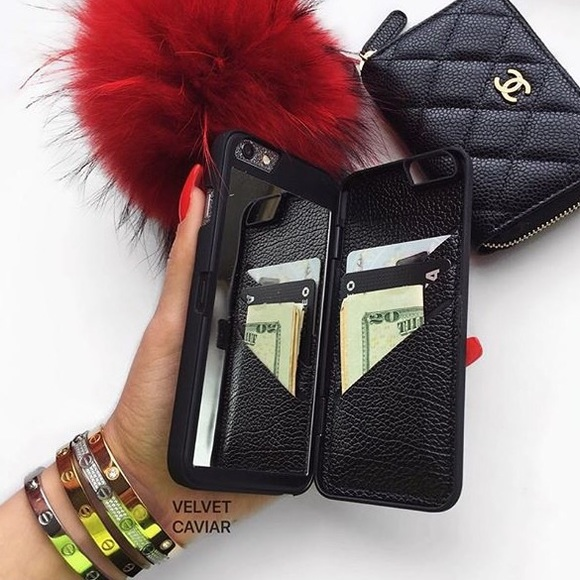new york 382f4 5a849 iPhone 6 Plus • black mirror wallet phone case NWT
