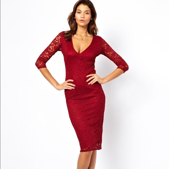 Nwot Asos Red Midi Lace Dress Backless