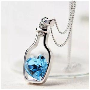 Jewelry - ED17 Blue Wishing Bottle Crystal Charm Necklace