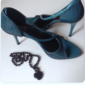 Carlos Santana Shoes - DARK TEAL & BLACK REPTILE CARLOS SANTANA HEELS
