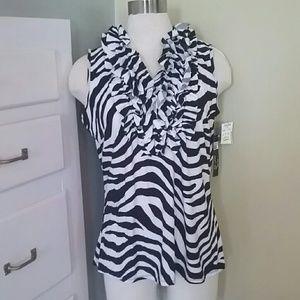 Very cute brand new silky ruffled  stretchy shirt