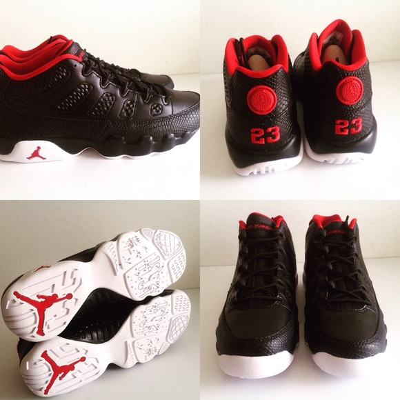 info for b9842 4be2d Air Jordan Retro 9 Low BG Black Gym Red White