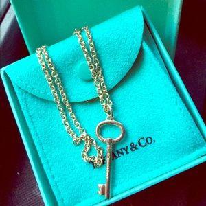 """Tiffany's silver necklace 17"""" w/ key charm"""