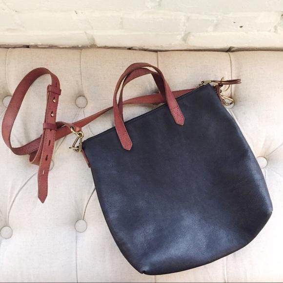 884056dc23a1 Madewell Handbags - Madewell Mini Transport Black Brown Tote Purse