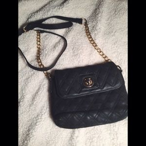 Handbags - Black Crossbody Purse with Gold Chain