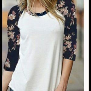SALE Floral Sleeved Poly Tee