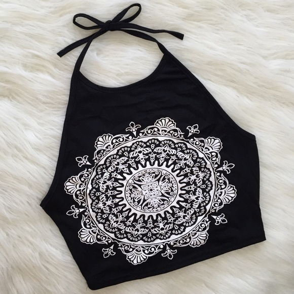 7eada2b3b2e9ce ❤️SALE❤ black and white mandala halter crop top