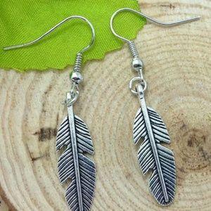 Jewelry - New Tibetan silver feather earrings