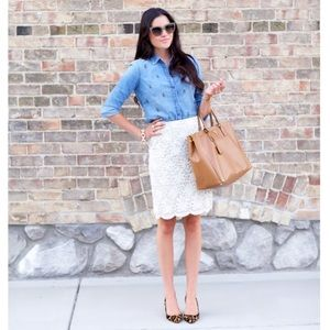 [J. Crew] Beaded Chambray Top