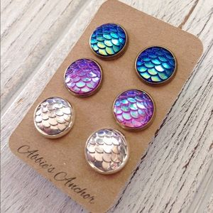 Abbie's Anchor Jewelry - HP!🎉Bundle pack!3 pairs of mermaid stud earrings